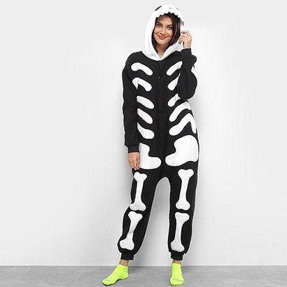 Pijama Kigurumi Caveira 3D Longo