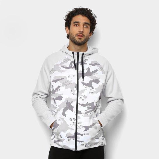 Jaqueta Moletom Nike Therma Hd Fz Camo c  Capuz Masculina - Cinza+Branco f26b5f88f201d