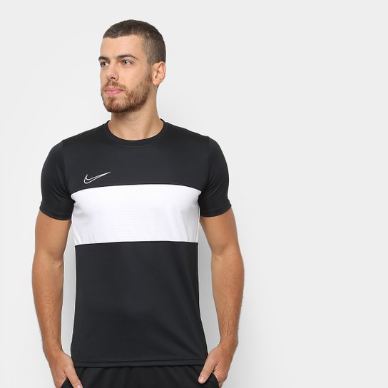 8e31abb19ba50 Camisa Nike Academy Top SS GX Masculina - Preto e Branco - Compre ...