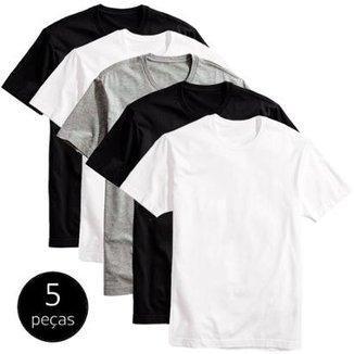 Kit 5 Camisetas Básicas Masculina T-Shirt Algodão Colors Tee 73fb559c835