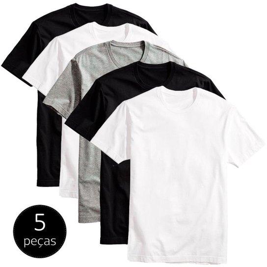 Kit 5 Camisetas Básicas Masculina T-Shirt Algodão Colors Tee - Preto+Branco f0b2c110dea42