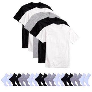 Kit 5 Camisetas Básicas Masculina T-Shirt Algodão + 10 Pares De Meias b1450f79a699d