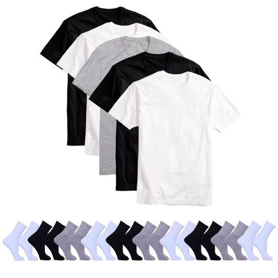 c8b1fecd49 Kit 5 Camisetas Básicas Masculina T-Shirt Algodão + 10 Pares De Meias -  Preto