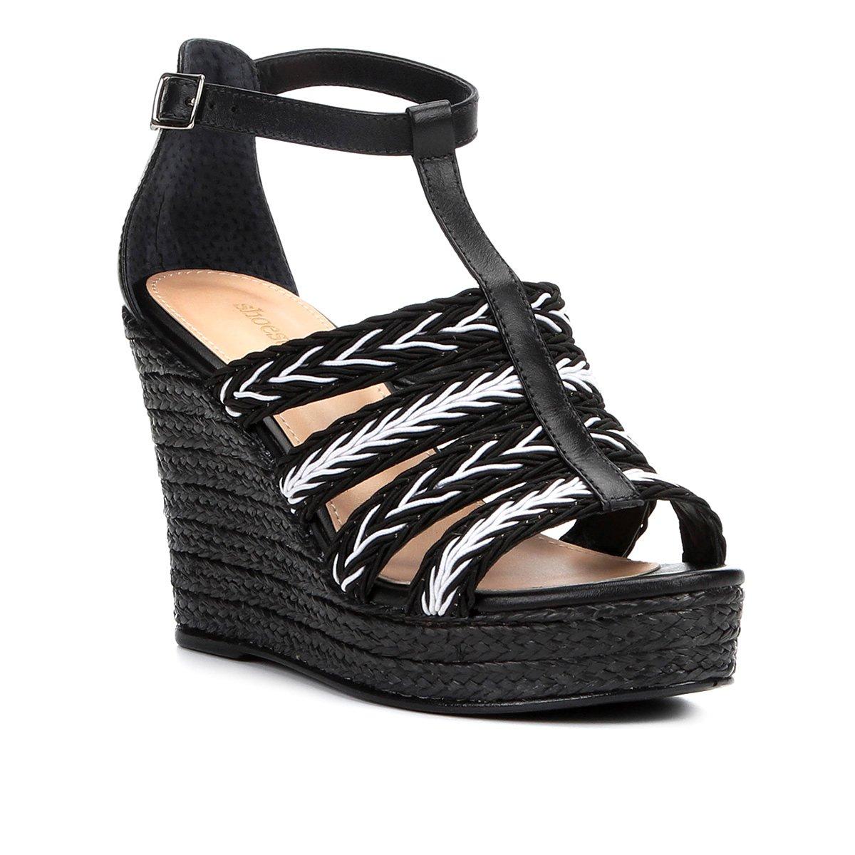 Foto 1 - Sandália Plataforma Couro Shoestock Tranças Feminina