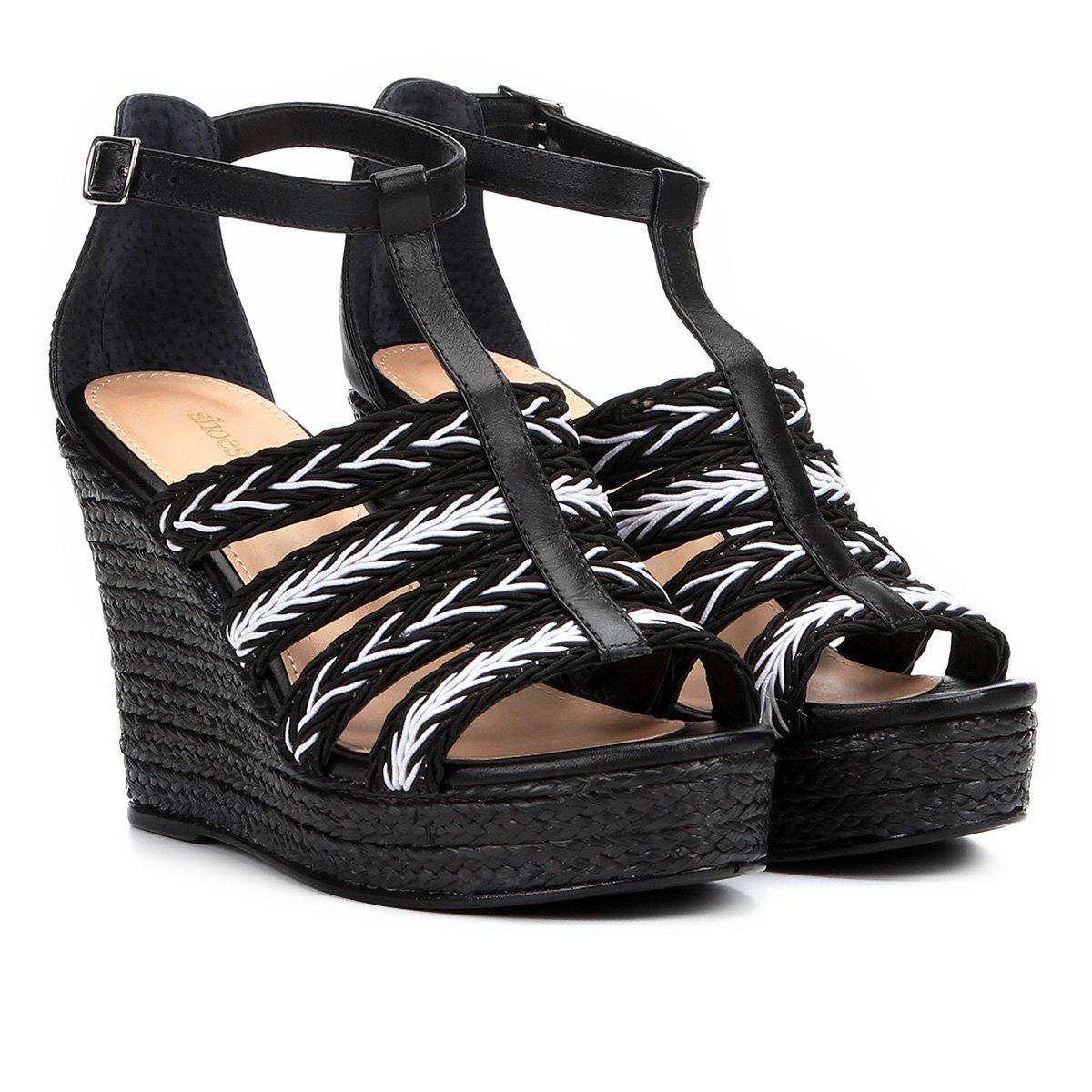 Foto 2 - Sandália Plataforma Couro Shoestock Tranças Feminina