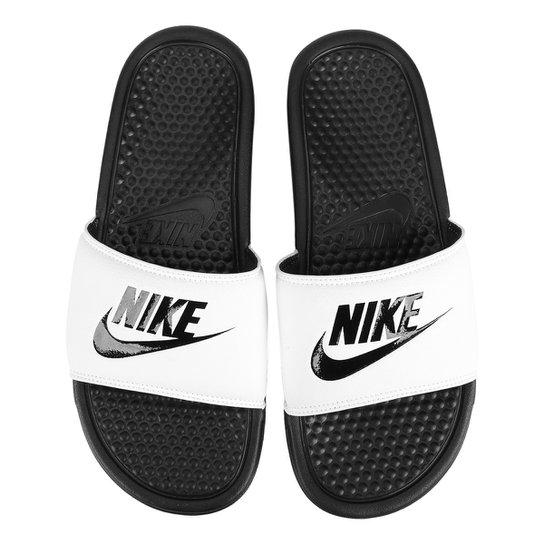 a8e5c7afe93 Sandália Nike Benassi JDI Masculina - Branco e Preto - Compre Agora ...