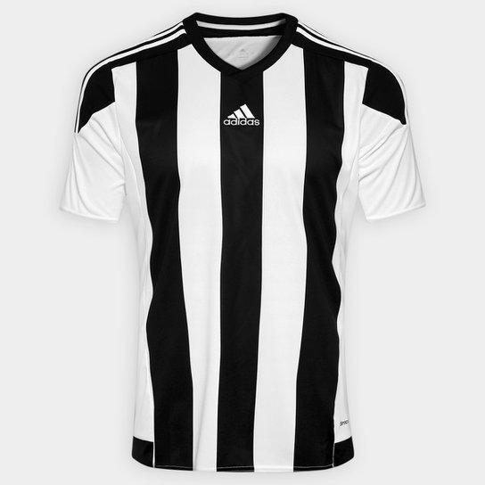 fb02dce1d58de Camisa Adidas Striped 15 Masculina - Branco e Preto - Compre Agora ...