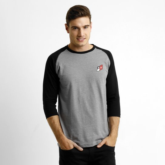 e14475c890 Camiseta DC Shoes Sleevelan 3/4 - Cinza+Preto