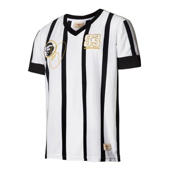 Camisa Masculina Retrô Gol Réplica Sócrates Ex - Corinthians 1983 Away -  Branco+Preto b9e462ff1203e