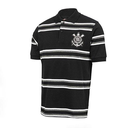 97241a01d Camisa Polo Corinthians Platinum Listrada Masculina - Branco e Preto ...