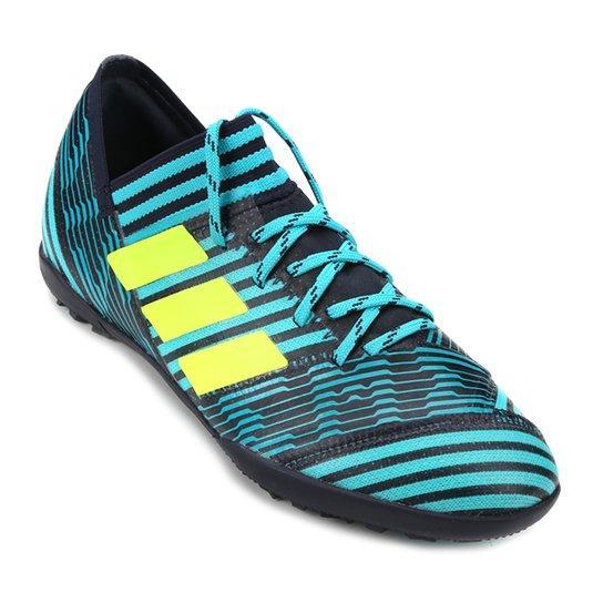 Chuteira Society Infantil Adidas Nemeziz 17.3 TF - Azul Turquesa+Verde Limão aa6dd01735e14