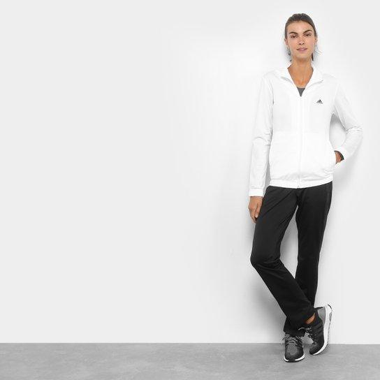 Agasalho Adidas Ess Ep Feminino - Branco e Preto - Compre Agora ... e9fbf22676585