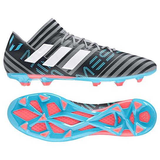 410937bdfba3 Chuteira Campo Adidas Nemeziz Messi 17.3 FXG - Cinza e Azul - Compre ...