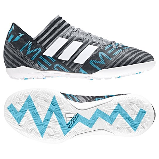 Chuteira Society Adidas Nemeziz Messi 17 3 TF Infantil - Cinza+Preto 383e49950a5c0
