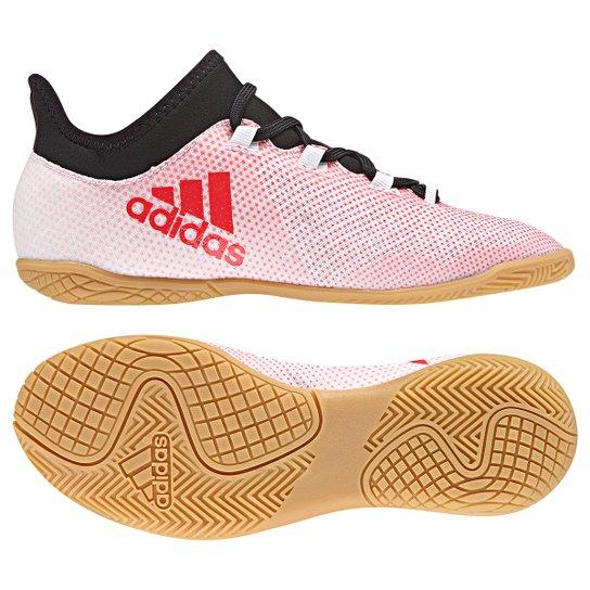 4bfa2de4839e3 Chuteira Futsal Infantil Adidas X 17.3 IN - Branco+Vermelho. Loading.