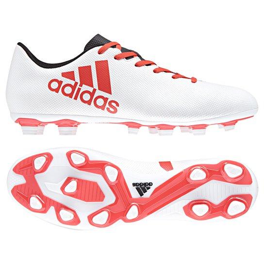 14cf4ef7e871f Chuteira Campo Adidas X 17.4 FXG - Branco+Vermelho. Loading.