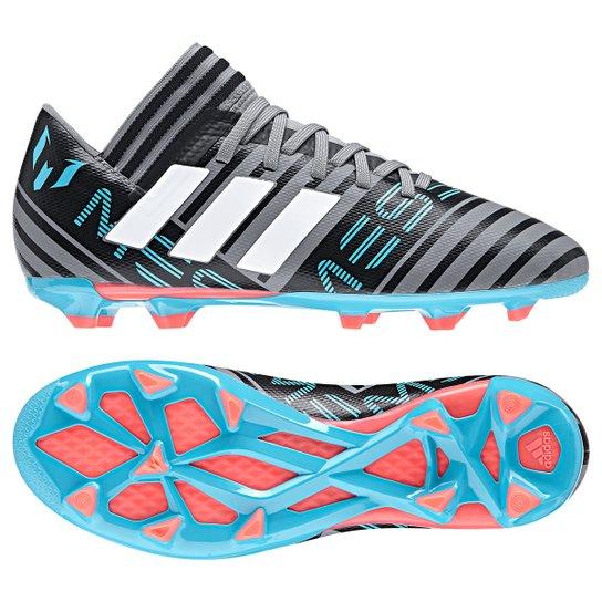 0656a4b669154 Chuteira Campo Infantil Adidas Nemeziz Messi 17.3 FXG - Cinza+Preto