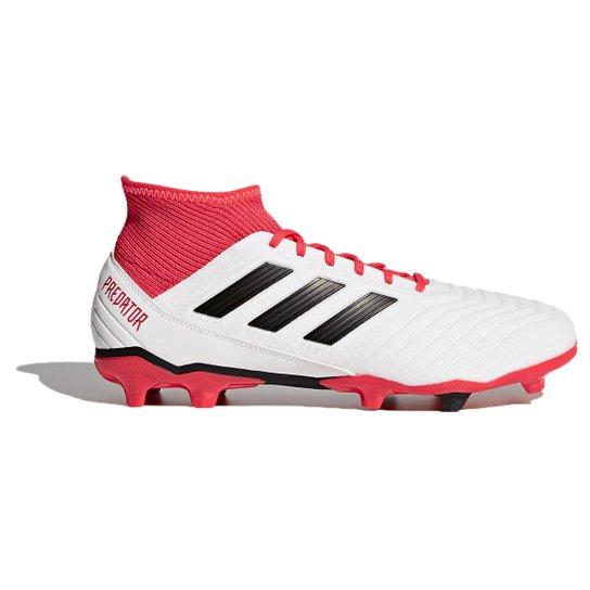 Chuteira Campo Adidas Predator 18.3 FXG - Branco e Preto - Compre ... 66e6f7556fc96