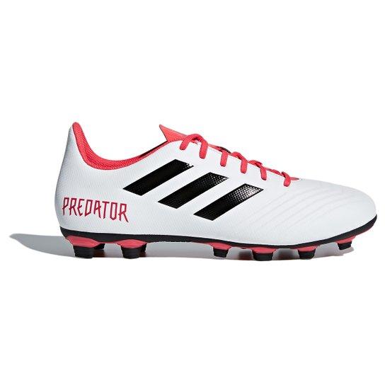 Chuteira Campo Adidas Predator 18.4 FXG - Branco e Preto - Compre ... e8cbb63d31de7