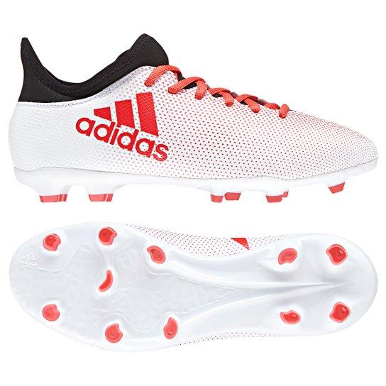 e25d622ab4c89 Chuteira Campo Infantil Adidas X 17.3 FXG - Branco+Vermelho