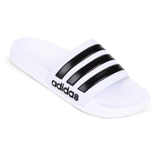 0fea315c2 Chinelo Slide Adidas Adilette Cloudfoam Masculino - Branco e Preto ...