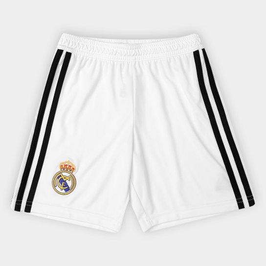 ffa48d473cb5b Calção Real Madrid Infantil Home 2018 Adidas - Branco e Preto ...