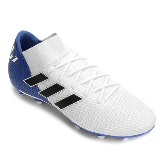 Chuteira Campo Adidas Nemeziz Messi 18 3 FG - Branco e Preto ... 0e4f87abac625