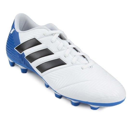 Chuteira Campo Adidas Nemeziz Messi 18 4 FG - Branco e Preto ... c7782be86d230