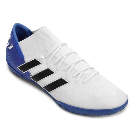 bddf15f2e6 Chuteira Futsal Adidas Nemeziz Messi Tan 18 3 IN - Branco e Azul ...