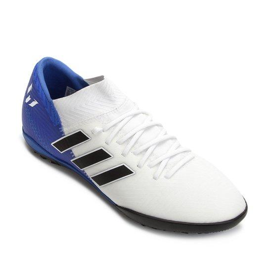 0e7366263e6b8 Chuteira Society Infantil Adidas Nemeziz Messi 18 3 TF - Branco+Azul