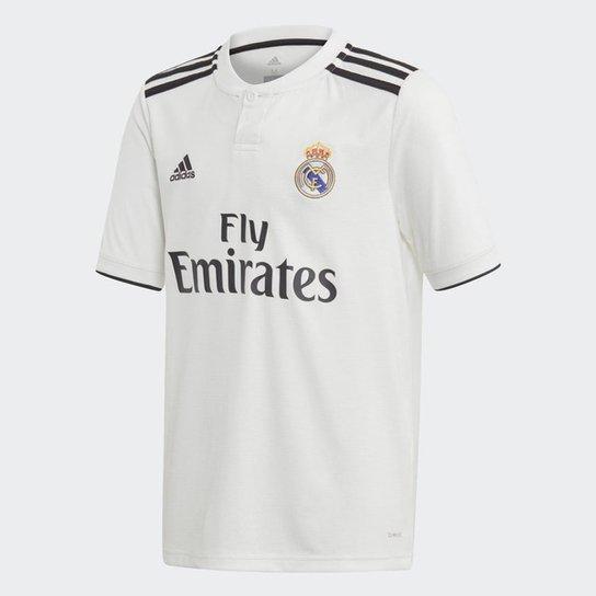 ad75c1f80 Camisa Real Madrid Infantil Home 2018 s n° - Torcedor Adidas - Branco+