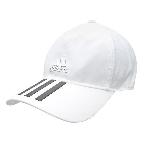 Boné Adidas C40 3 STripes Climalite Aba Curva - Branco e Preto ... 21d29c8996f