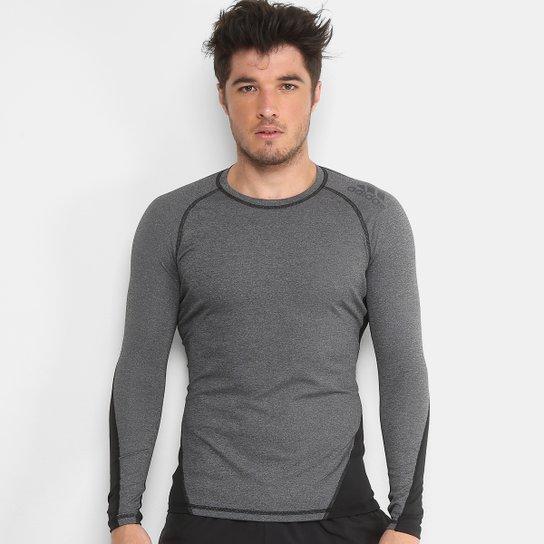 799b54bbf7d Camiseta Adidas Alphaskin Sport Manga Longa Masculina - Cinza e ...
