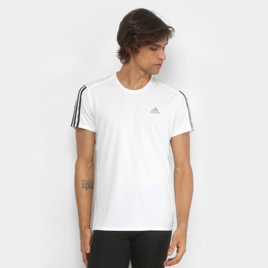 5874cf482f8 Camiseta Adidas Run 3Stripes Masculina - Branco e Preto - Compre ...