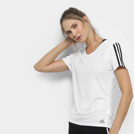 affc929956c Camiseta Adidas Run 3S Feminina - Branco e Preto - Compre Agora ...