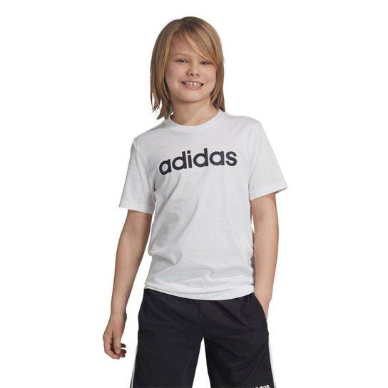 Camiseta Infantil Adidas YB LIN TEE Masculina - Branco e Preto ... 4363689eb8a