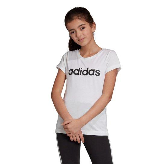 Camiseta Infantil Adidas Estampa Logo YG LIN TEE Feminina - Branco e ... 68742edd8e1