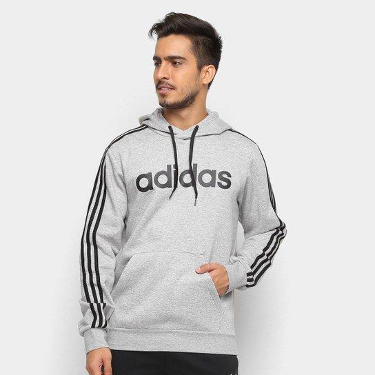 b73ca4cb89d Moletom Adidas Estampa Logo E 3S PO FL Masculino - Cinza e Preto ...