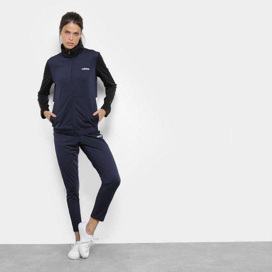 b2b28ee0458 Agasalho Adidas Wts Plain Tric Feminino - Azul e Preto - Compre ...