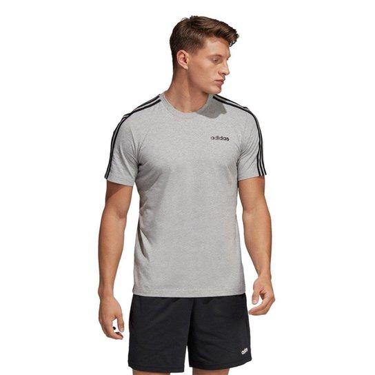 f1548ef33 Camiseta Adidas Eseentials 3-Stripes Masculina - Cinza e Preto ...