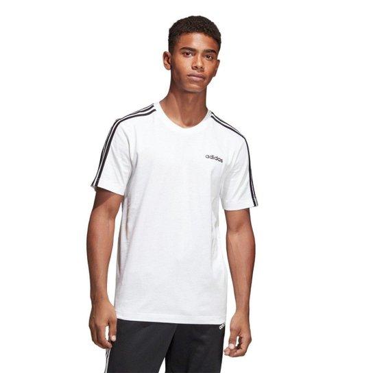 Camiseta Adidas Essentials 3-Stripes Masculina - Branco e Preto ... 7c004581277