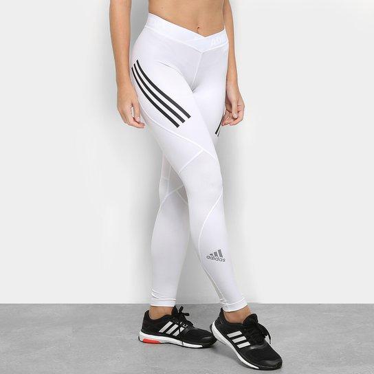 c0263791b Calça Legging Adidas Alphaskin Sport Três Listras Feminina - Branco+Preto