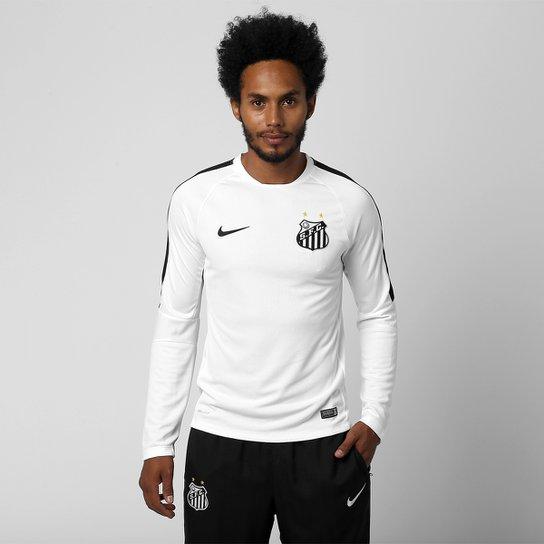998ebb9944473 Camisa de Treino Santos 2015 Nike Manga Longa Masculina - Branco+Preto