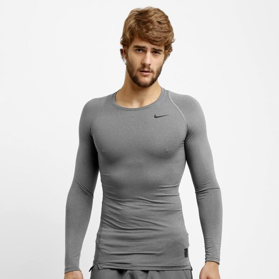 bf3300387f088 Camiseta de Compressão Nike Pro Cool Manga Longa Masculina - Cinza+Preto