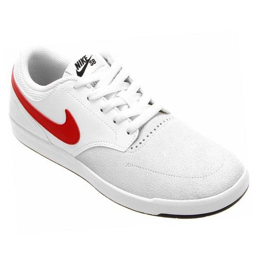 c1dfe127c6 Tênis Couro Nike SB Fokus Masculina - Gelo+Vermelho