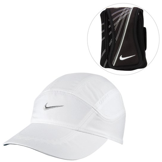 Kit Boné Nike Dri-Fit Spiros + Braçadeira Nike Running - Branco+Preto 0faaaca7771
