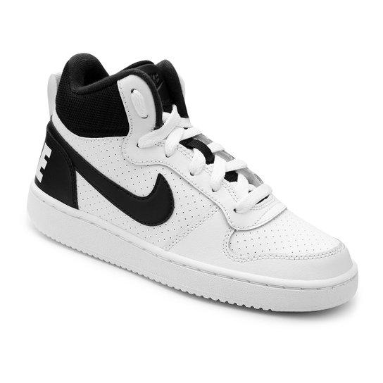 45e075f23be Tênis Infantil Nike Court Borough Mid Masculino - Branco e Preto ...