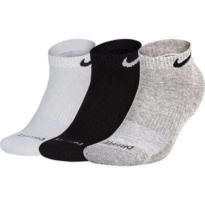 Meia Nike Cano Baixo Pacote Com 3 Pares Numeração 29-33