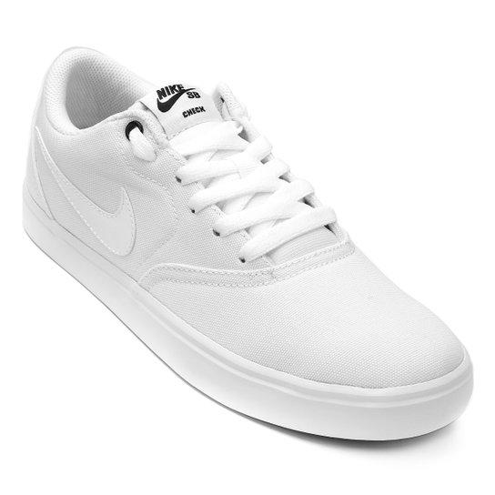 Tênis Nike Wmns Sb Check Solar Cnvs Feminino - Branco e Preto ... f0061c4fab1c5