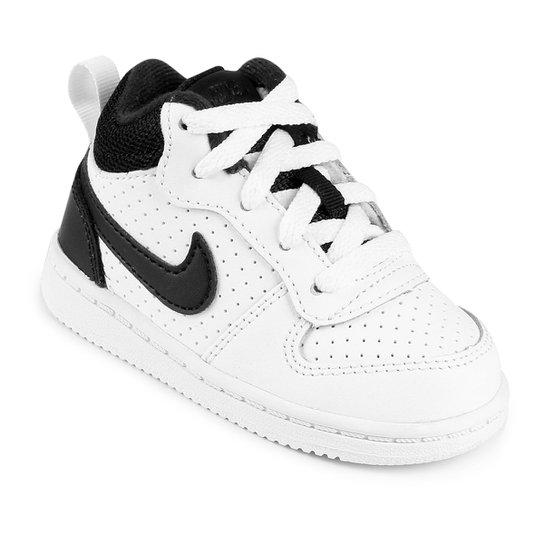 Tênis Couro Nike Court Borough Mid - Branco e Preto - Compre Agora ... b27dda4494b86